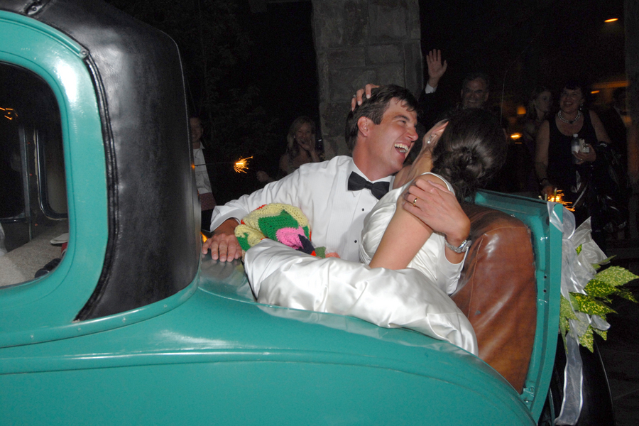 Laughing in Just Married Car