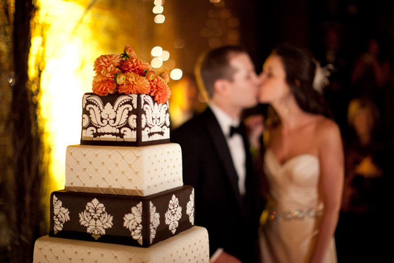 Kissing Behind Cake