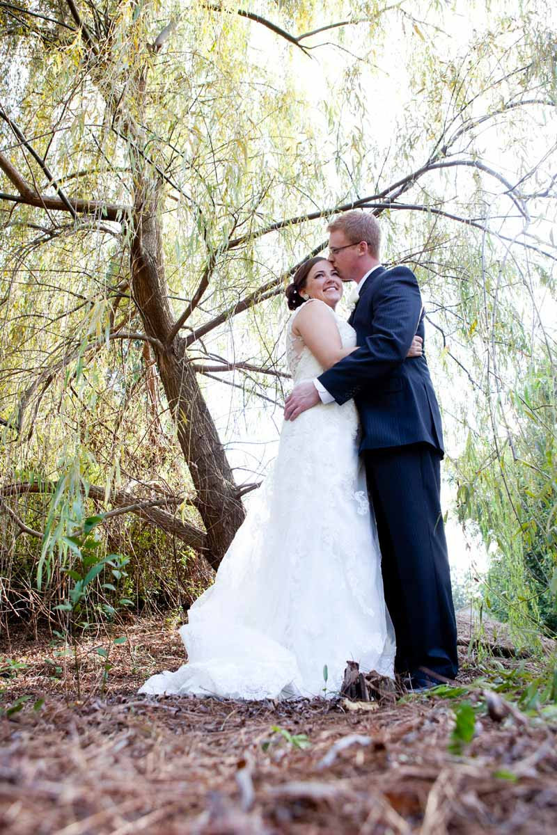 Portrait of Bride & Groom in Woods