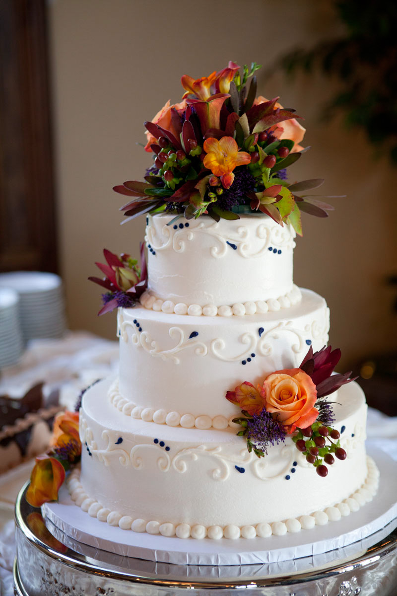 White Cake With Autumn Flowers
