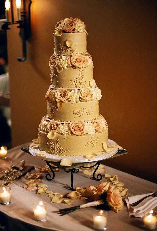 Golden Wedding Cake Style Me Pretty The Celebration Society
