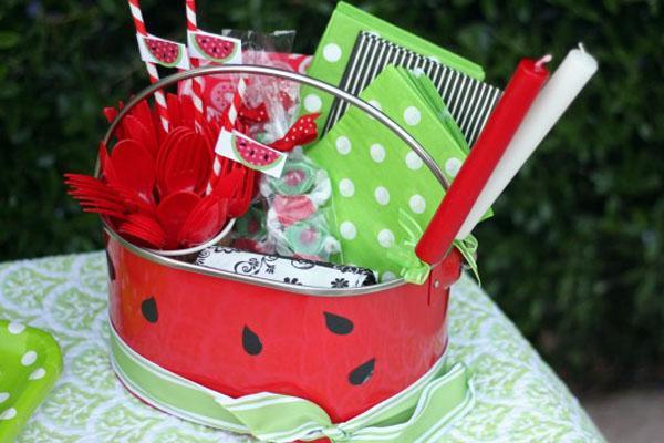 Summer party ideas watermelon theme picnic centerpiece