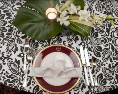 Black and white wedding linens by Cover Ups in Atlanta, Georgia.