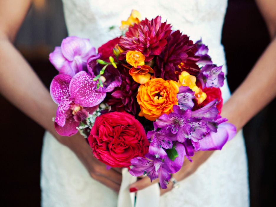 Colorful Bouquet of Red, Purple, and Orange: Cost + Flowers - The ...