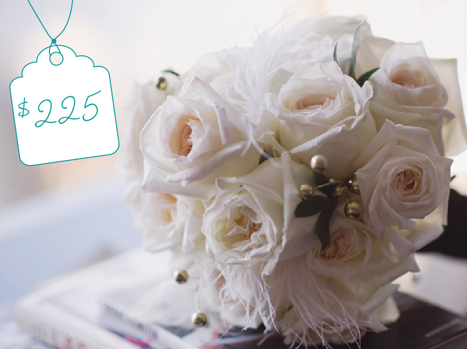 Elegant Bouquet of White Roses: Cost + Flowers - The Celebration Society