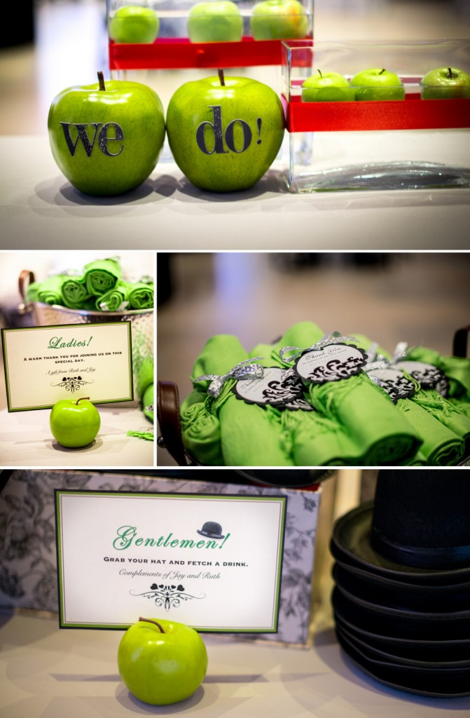 green-apple-wedding-invitations-bowler-hats-red-ties - The ...
