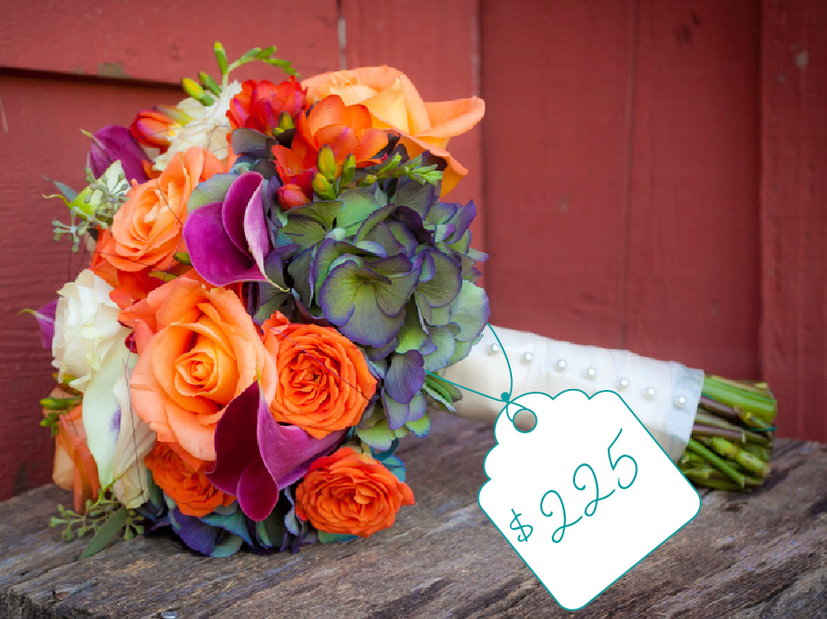 Bright Bouquet Of Orange Purple And White Cost Flowers The