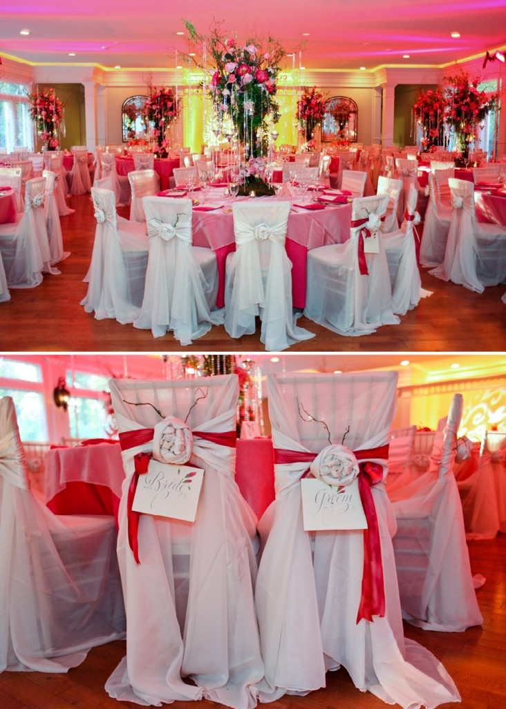 Primrose Cottage Wedding Reception Pink Floral Centerpieces Table