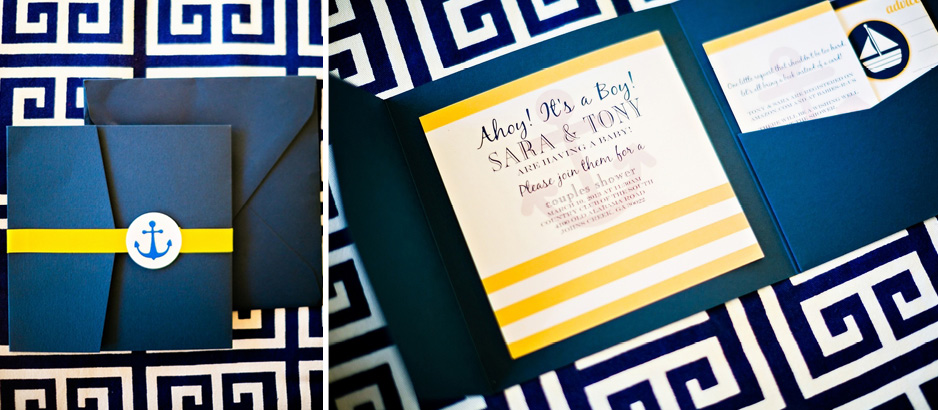Sailor Baby Shower Invitations Navy Yellow Anchor