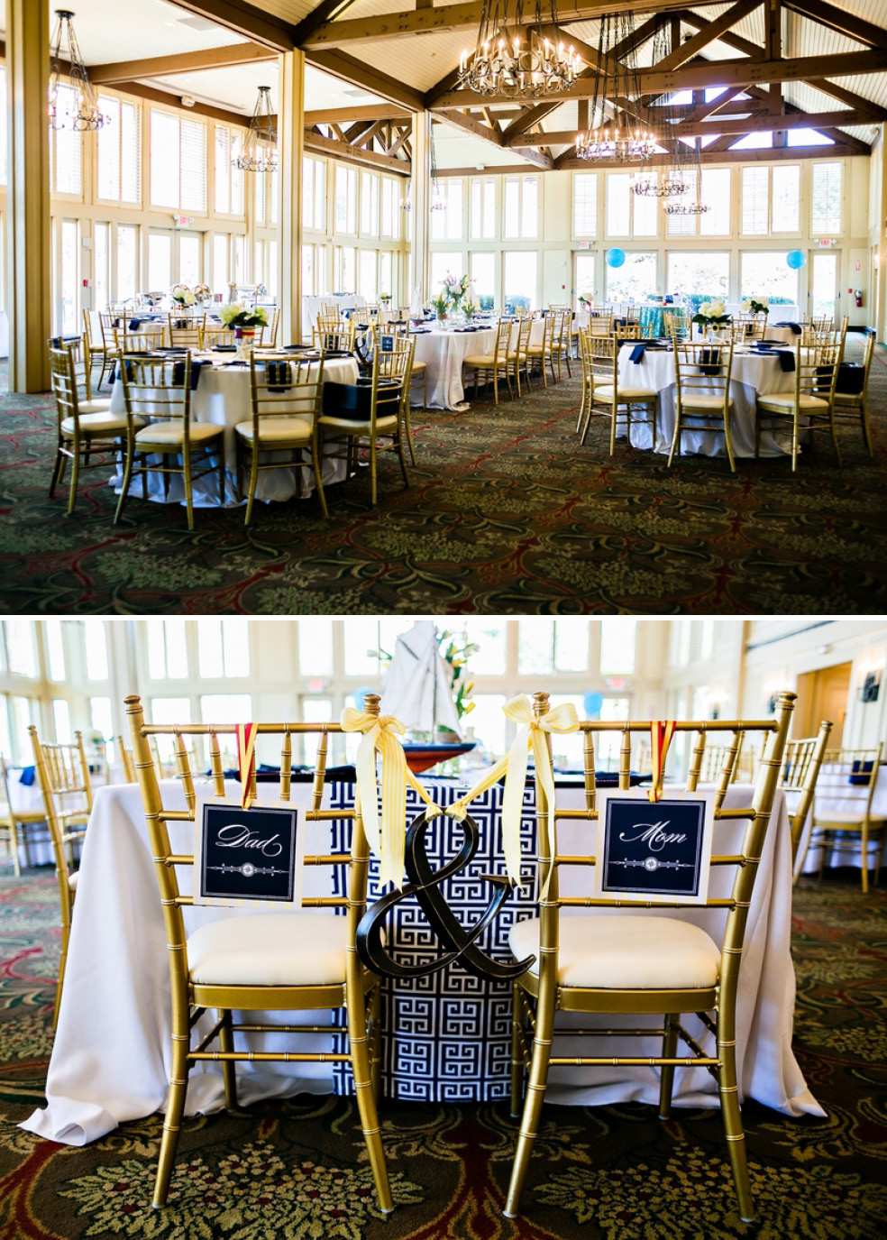 Sailor Baby Shower Room Gold Chairs Navy White