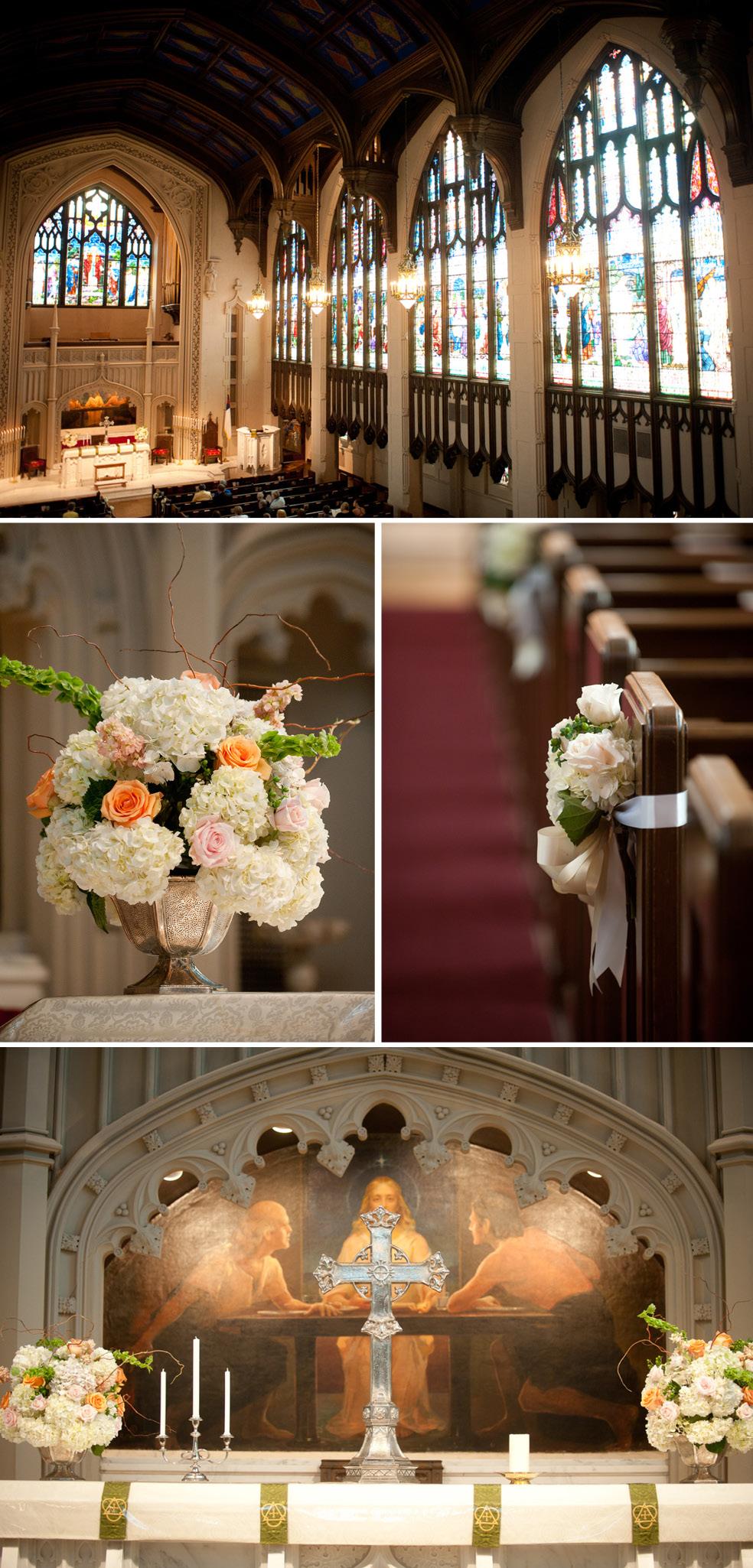 Wedding Peachtree Church Chapel Stained Gl Hydrangeas Roses