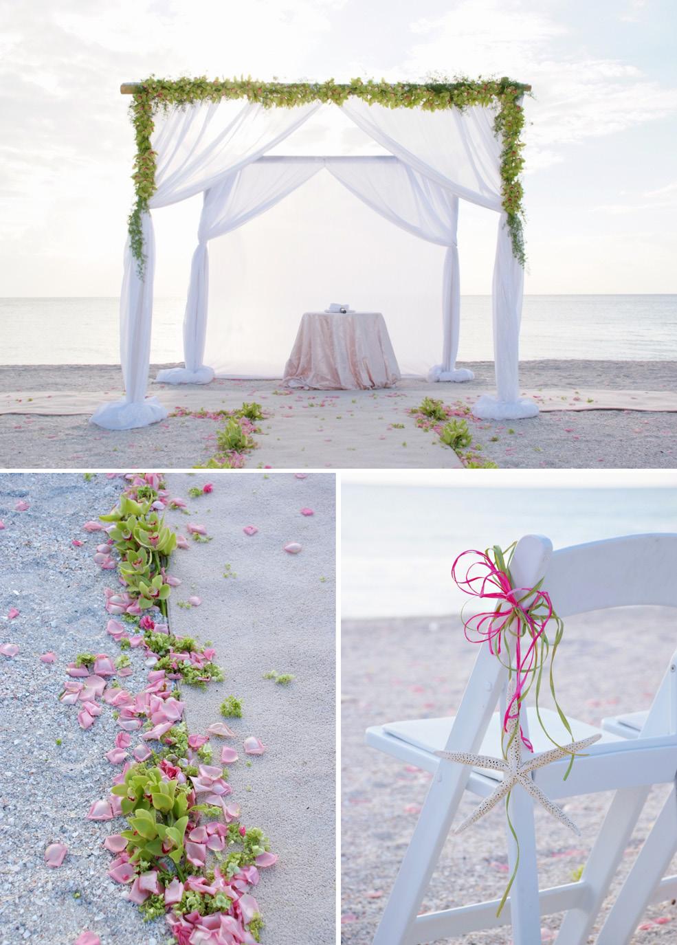 Wedding Naples Florida Green Pink Decor Beach Ceremony The