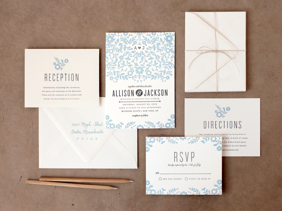letterpress invites blue