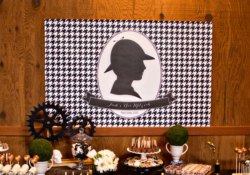 Black And White Sherlock Holmes Themed Bar Mitzvah The Celebration