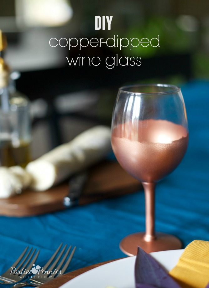 Easy diy copper dipped wine glass for Wine and paint orlando