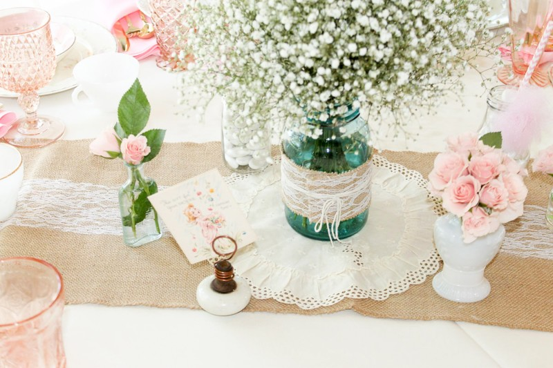 Southern Vintage Baby Shower-table centerpieces