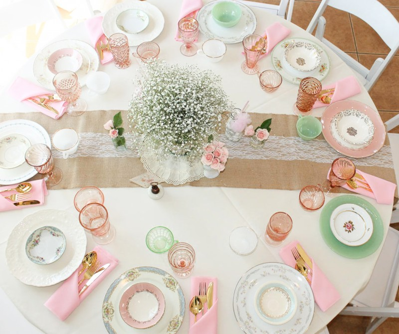 Southern Vintage Baby Shower-table top view