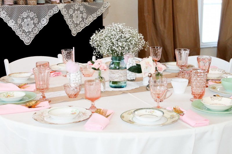 Southern Vintage Baby Shower-table