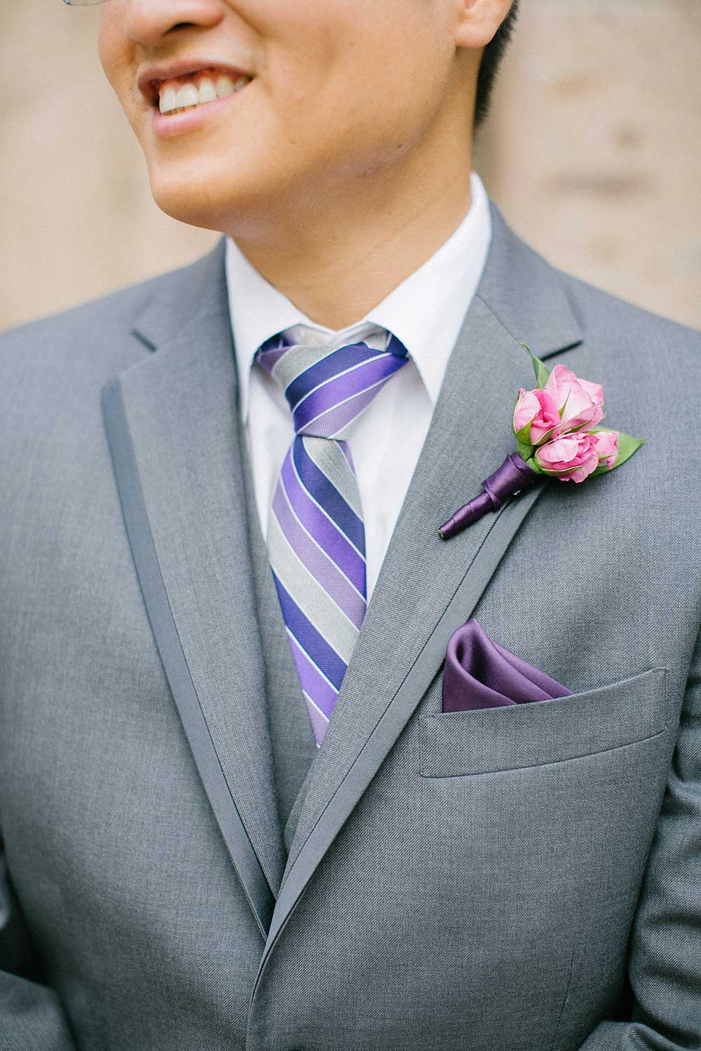 Groomsmen-in-grey-suit-with-a-purple-pocket-square-and-a-light-pink ...