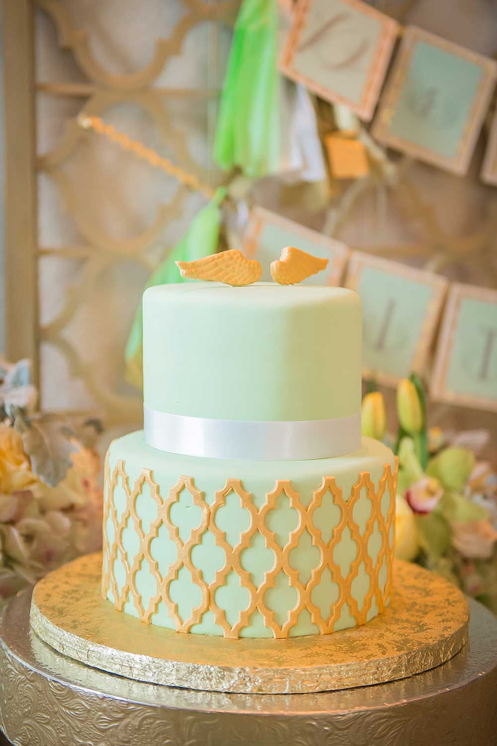 Mint-and-Gold-Baptism-Cake