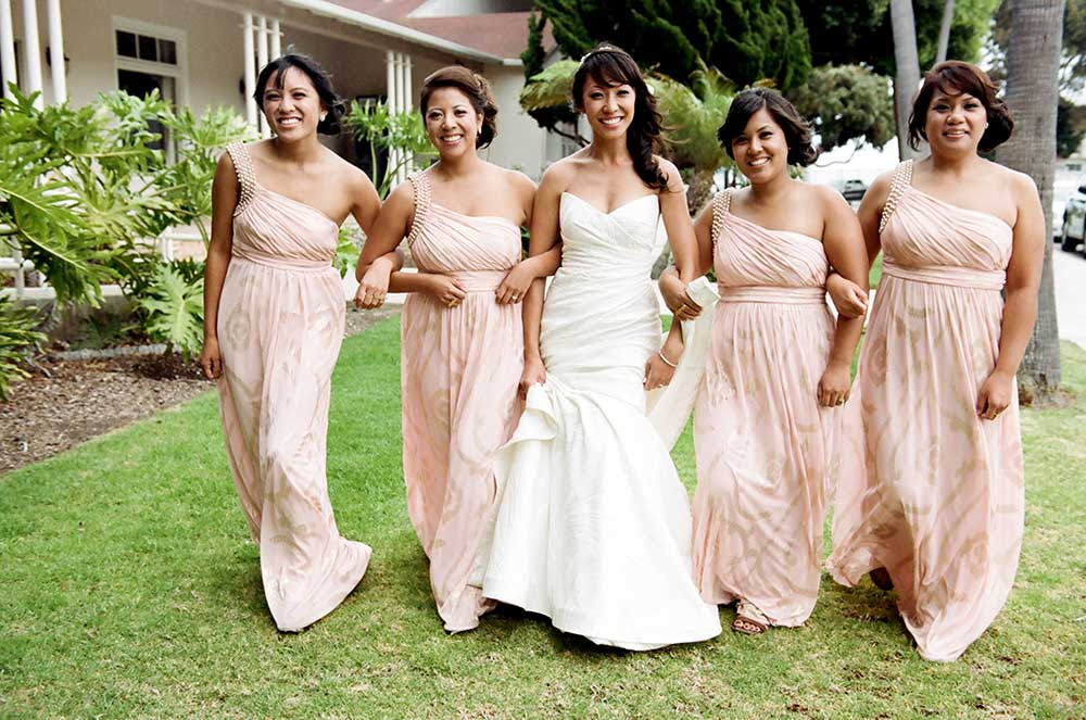 Pink-Patterned-Bridesmaids-Dresses