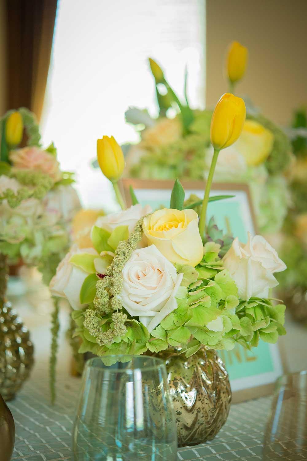 Rose-Tulip-and-Green-Hydrangea-Arrangement-in-Mercury-Glass-Bud-Vase