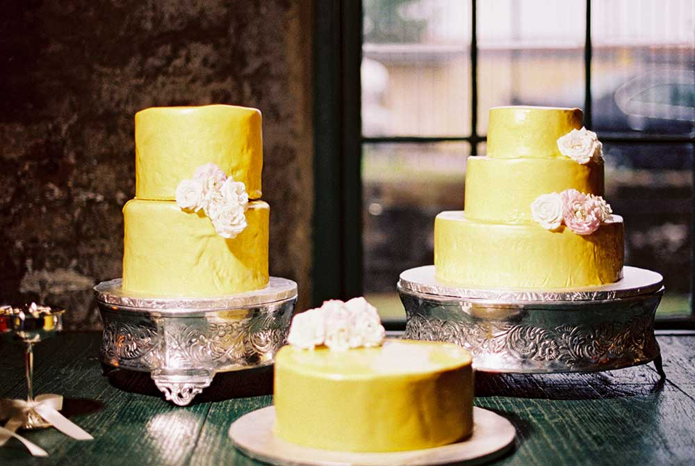 Various-Gold-Wedding-Cakes-with-Blush-Floral-Accents - The ...
