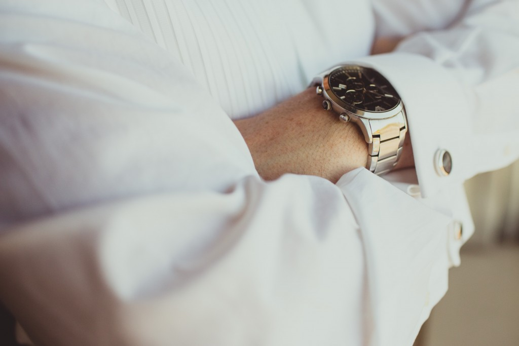 Grooms silver watch and cufflinks