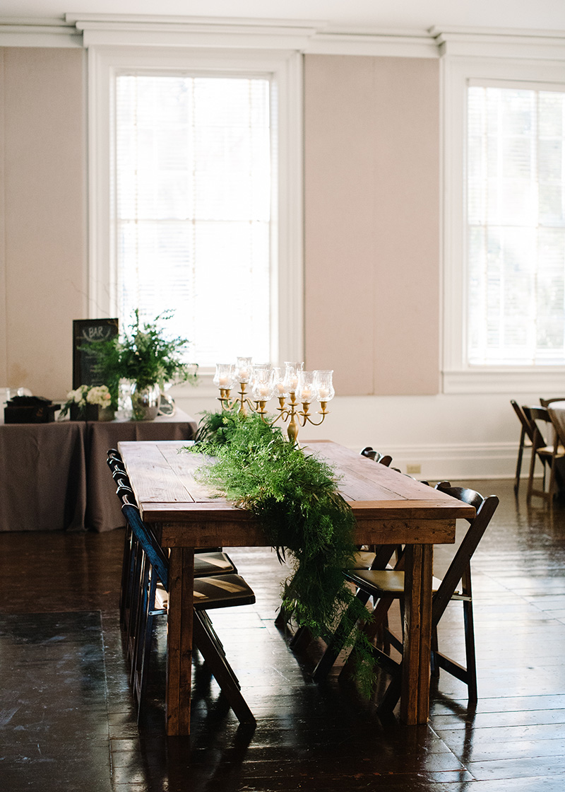 Bare Wooden Table Reception Setup