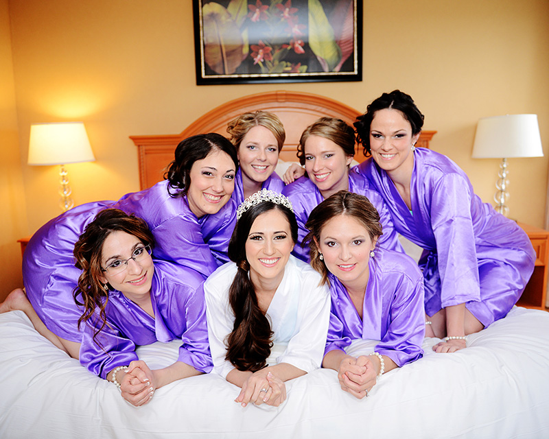 Bridal Party in Purple Satin Robes