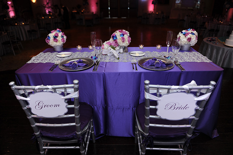 Bride and Groom Purple Place Settings