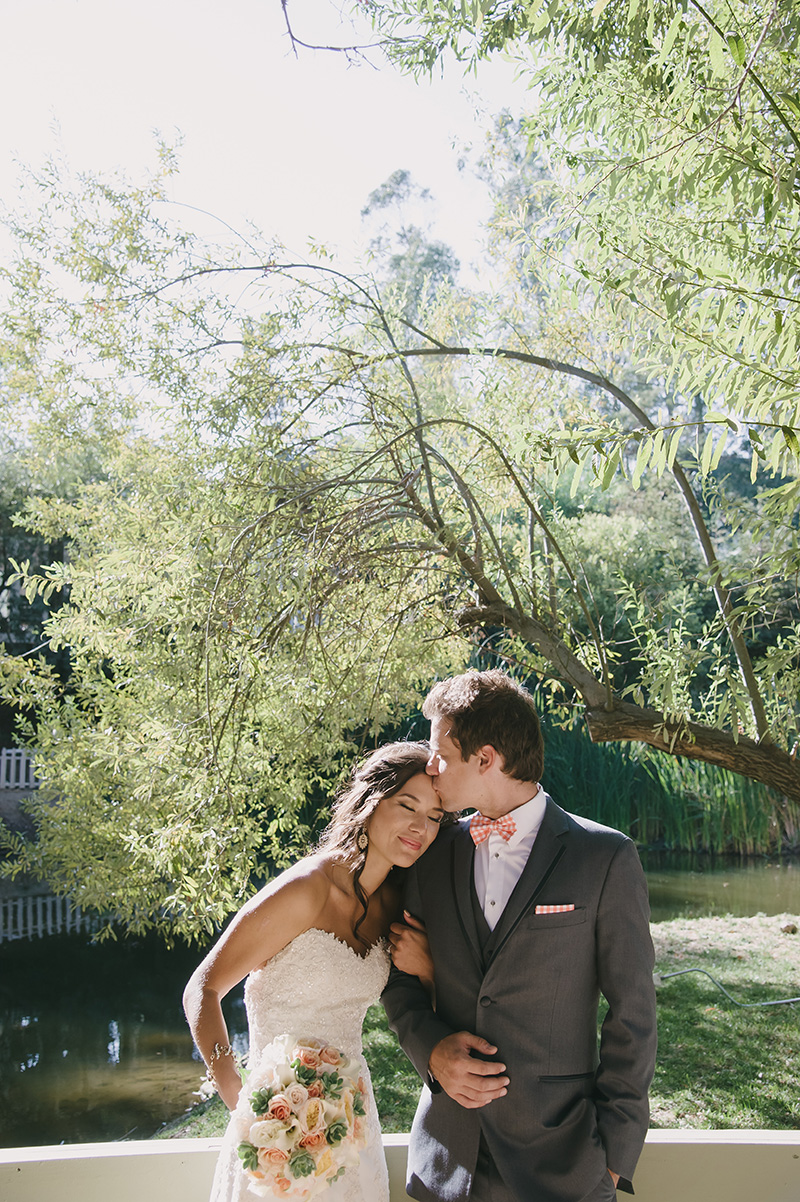 Bride and Grooms First Look at Calamigos Ranch in Malibu