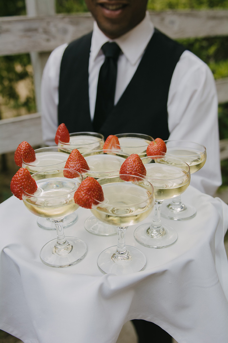Champagne Toasting Glasses with Strawberry Garnish