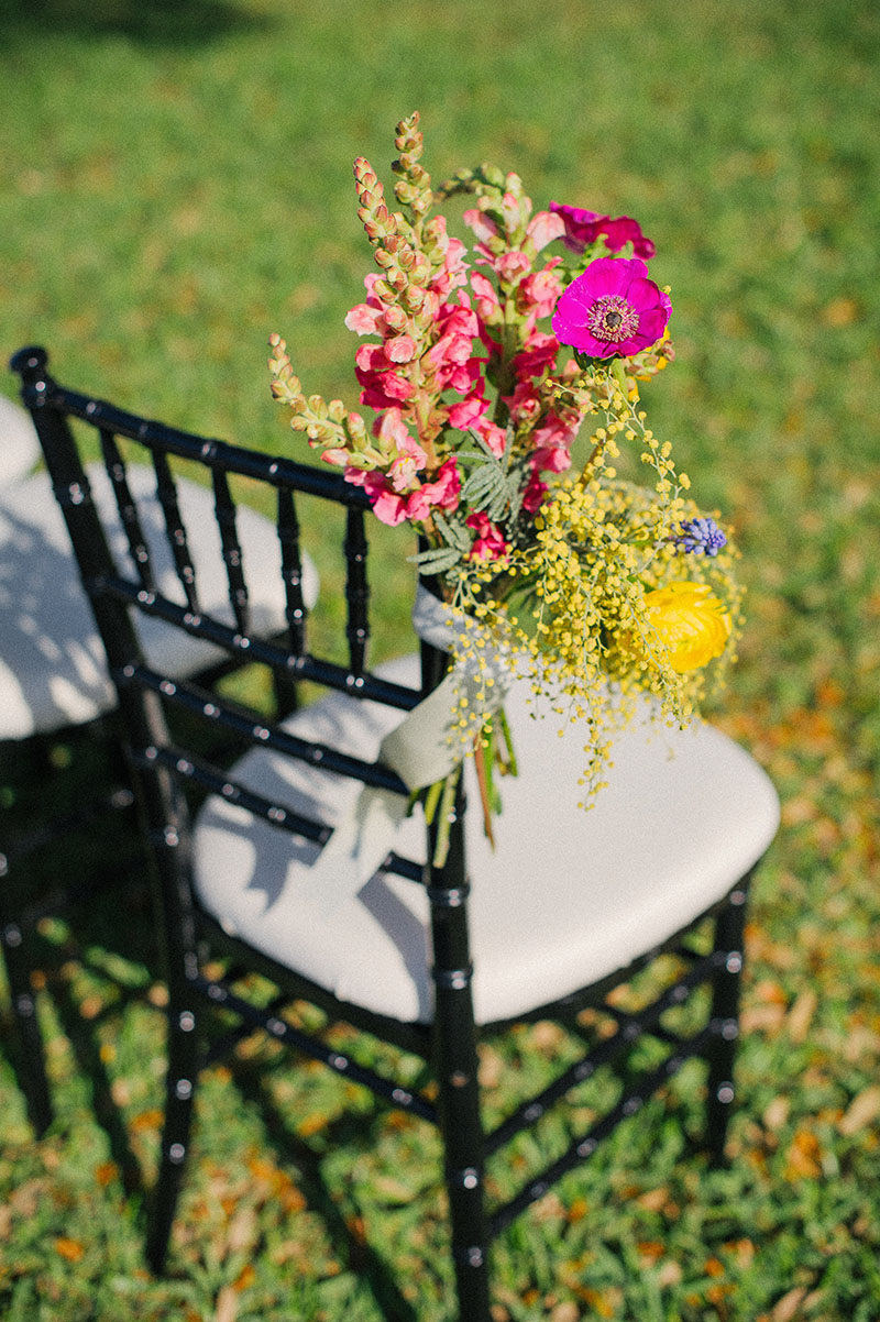 Colorful Cosmos Ceremony Chair Arragement