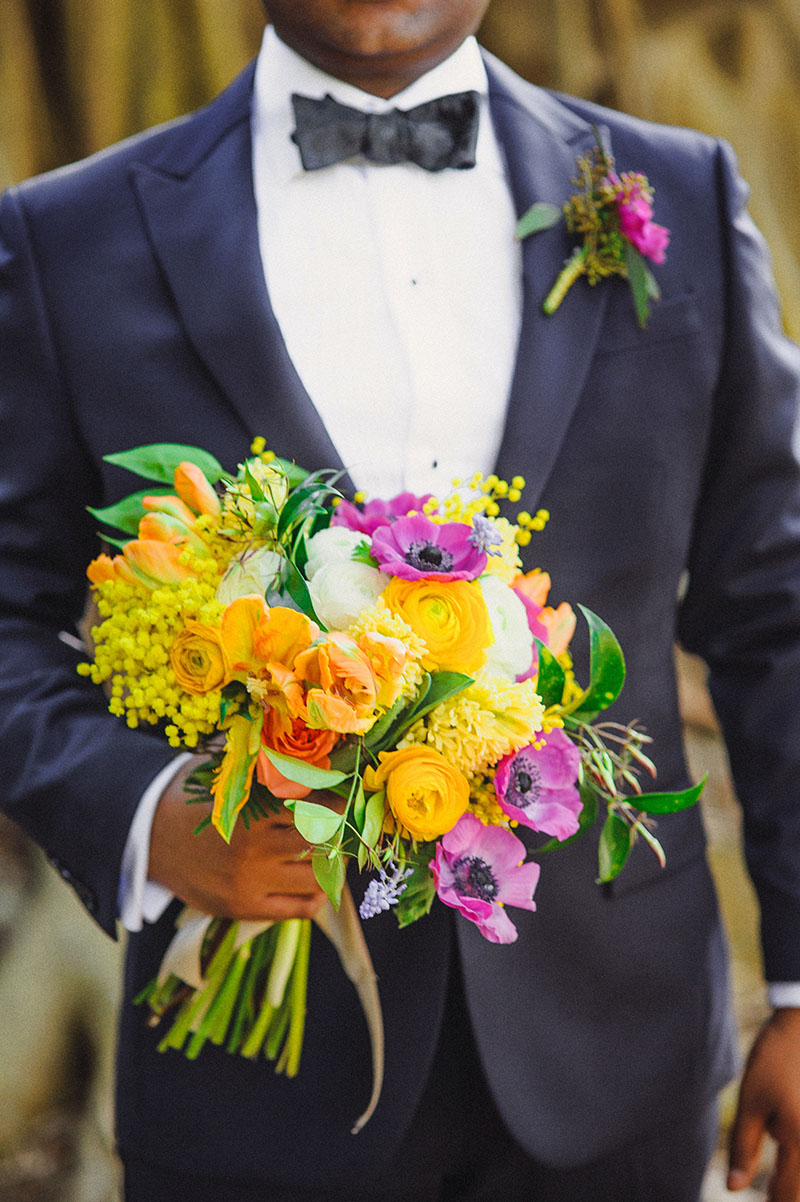 Colorful Cosmos and Rananculus Bridal Bouquet
