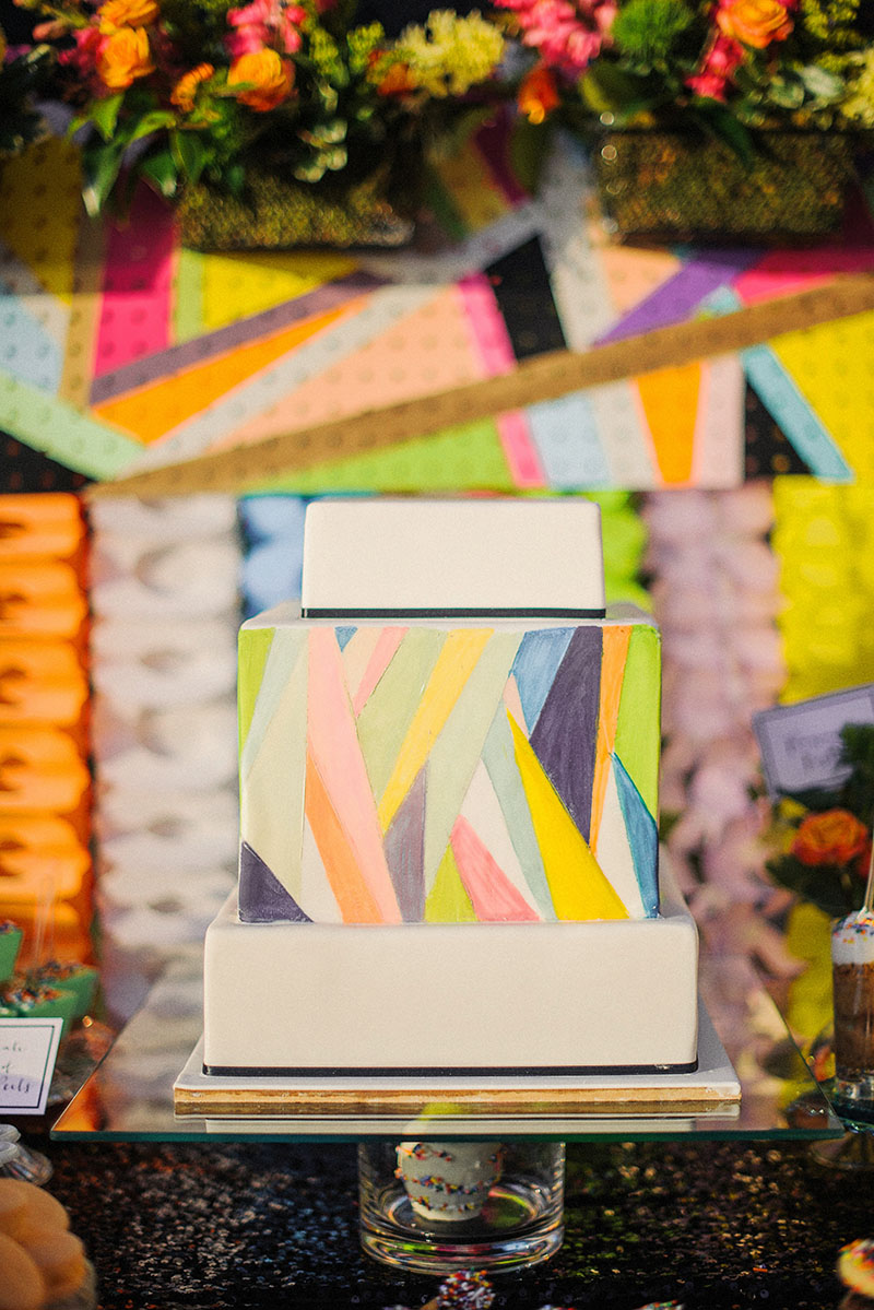 Colorful Geometric Square Wedding Cake