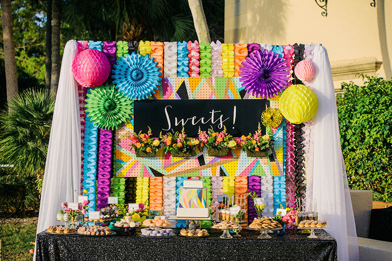Colorful Sweets Table at Wedding Reception