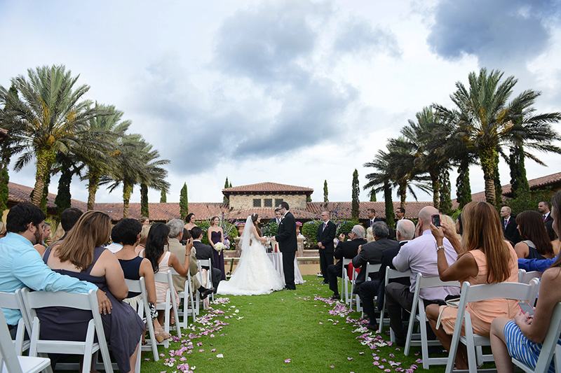 Exchaging of Vows in front of Stone Villa