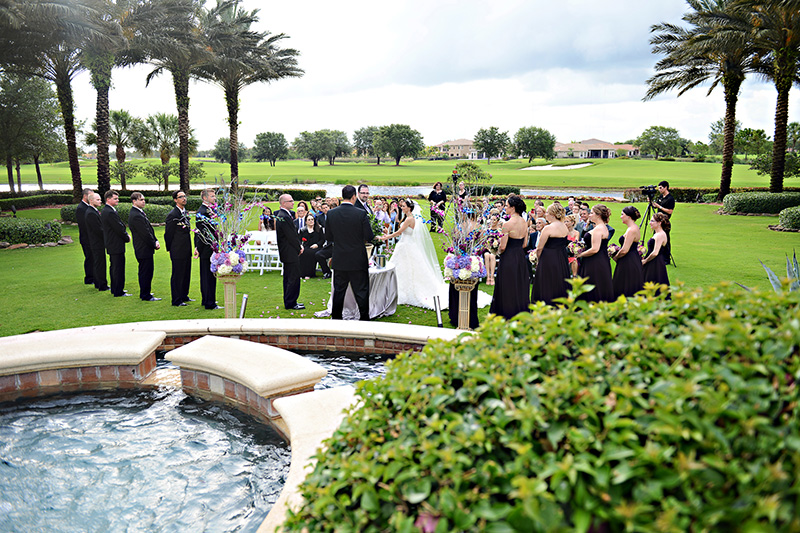 Exchanging of Vows on Green Lawn