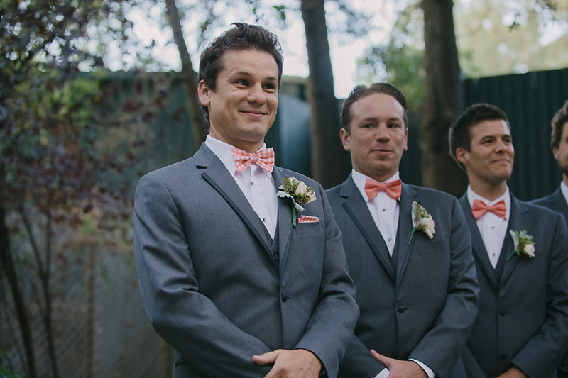 Excited Groom at Wedding Ceremony Altar