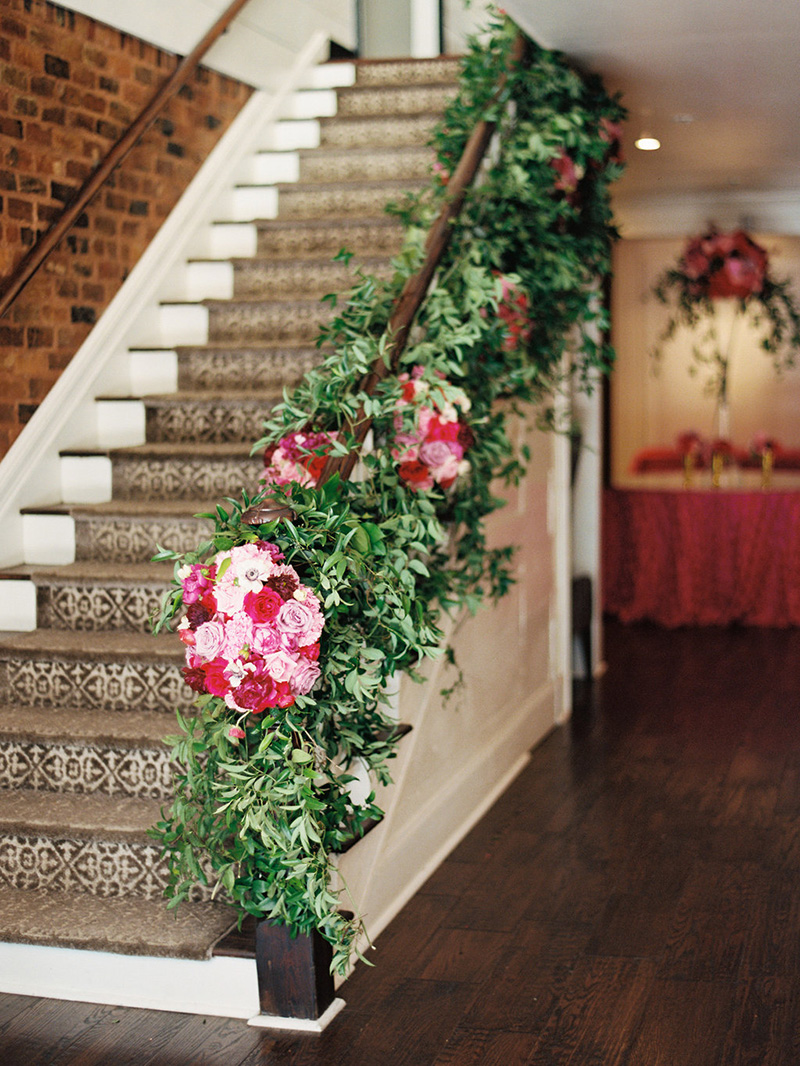 Floral Banister Arrangement at The Estate