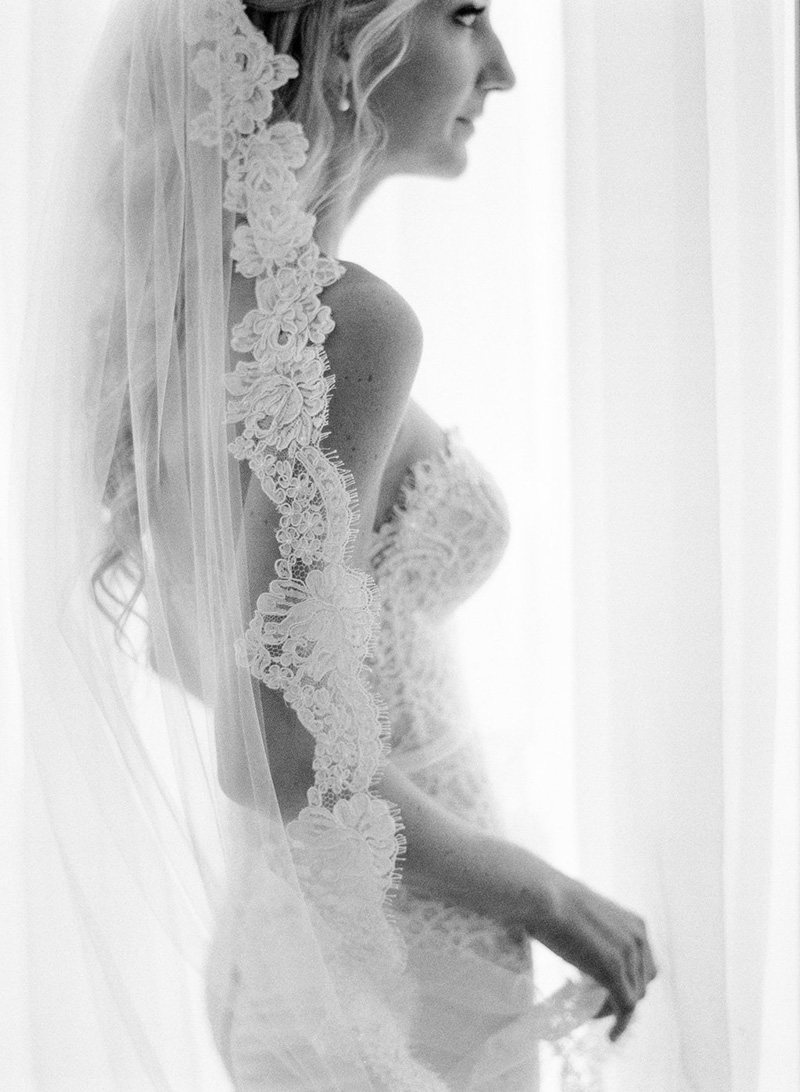 French Lace Veil and Wedding Dress