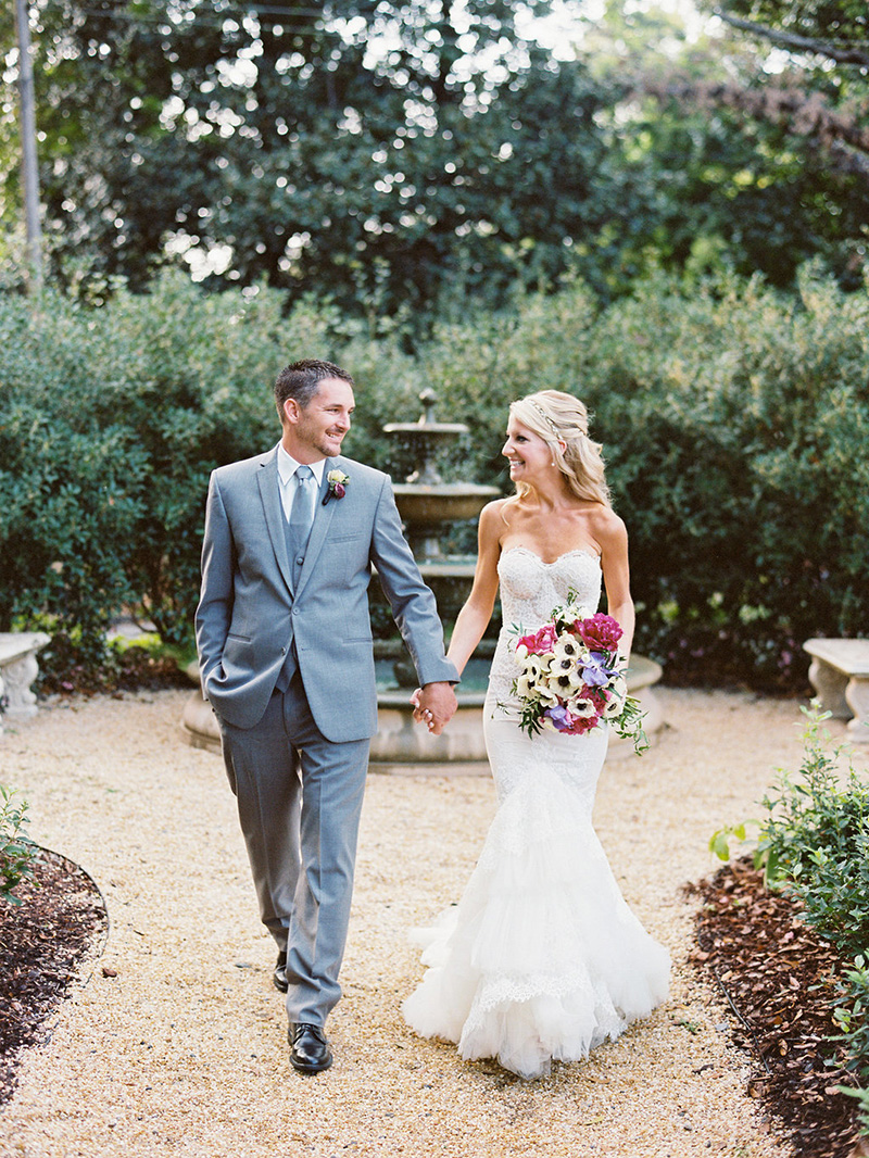 Gray Groom's Suit and Lace Bridal Gown