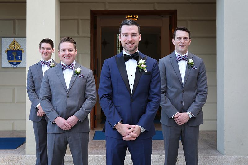 Groom and Groomsmen in Modern Tuxedos