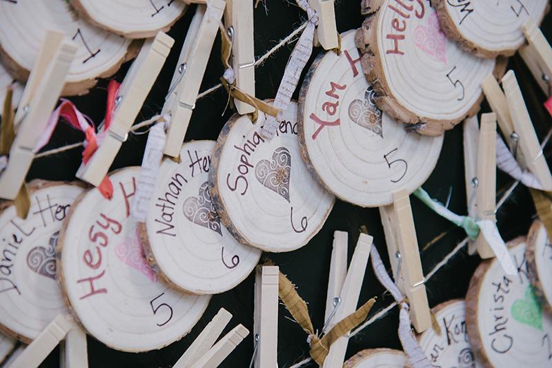 Handwritten and Stamped Wooden Escort Cards