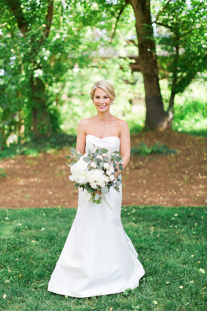 Simplistic Bride with Eucalyptus and White Bouquet