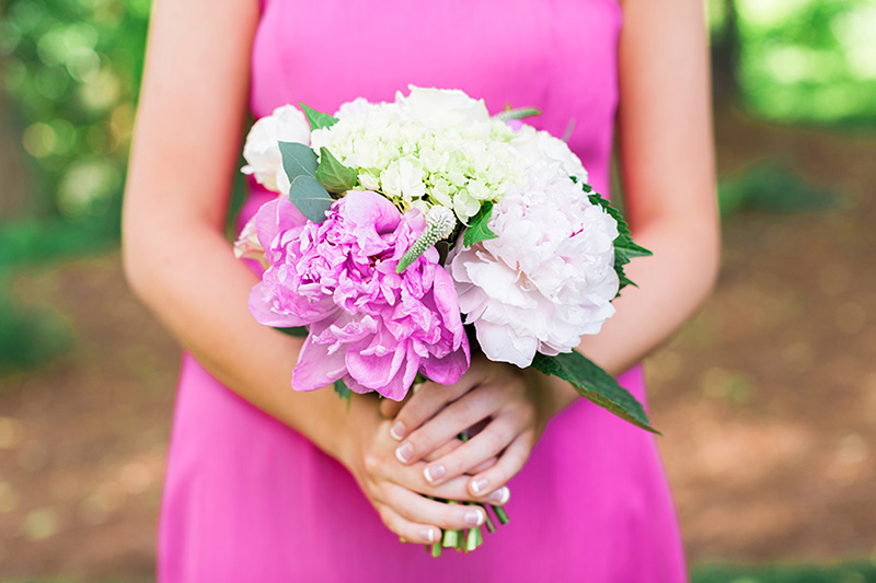 Pink Peony, Hydrangea and White Heather Junior Bridesmaid Bouquet