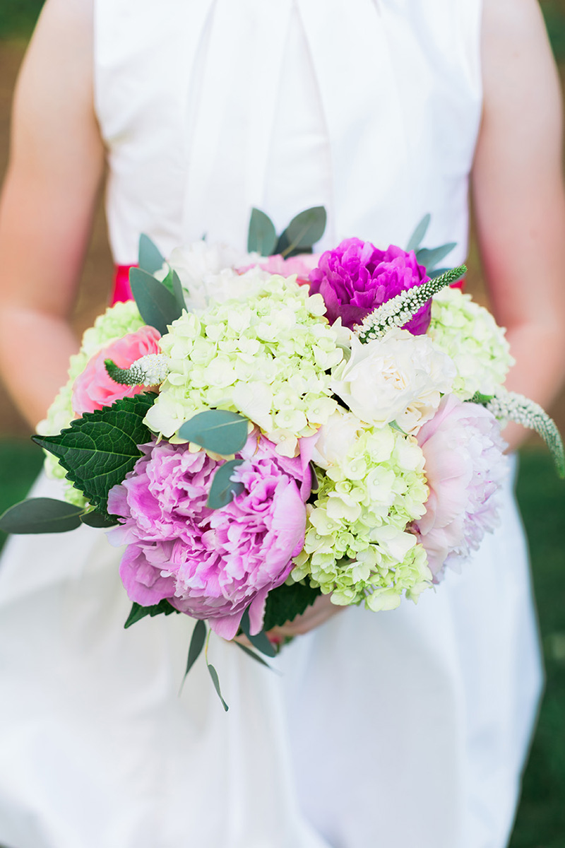 Pink Peony, Rose, Hydrangea and White Heather Junior Bridesmaid Bouquet