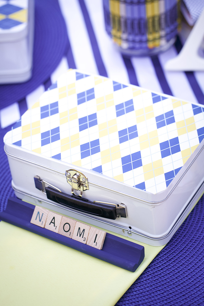 Lunch Box and Scrabble Letter Place Cards