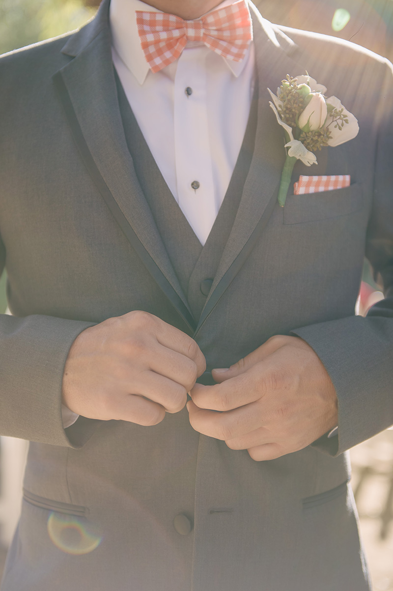 Peach Gingham Grooms Attire